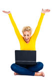 Young Woman Celebrating Success on Laptop Stock Photos