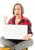 Young woman celebrating with using laptop Royalty Free Stock Image