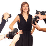 Young Woman Celebrity. Celebrity Woman in front of Paparazzi stock images