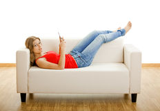 Young woman with a cell phone Royalty Free Stock Image