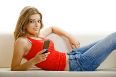 Young woman with a cell phone Stock Photo