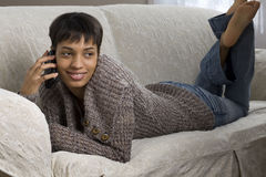 Young Woman on a Cell Phone Stock Photo