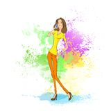 Young woman cell phone call over abstract paint Stock Images