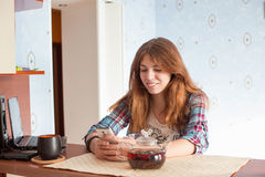 Young woman with cell phone Stock Photos