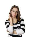 Young woman with cell phone Stock Photography