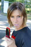 Young woman with cellphone Stock Photo