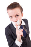 Young woman in censorship Stock Images