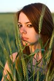 Young woman and cereal crops Stock Photo