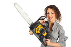 Young woman with chain saw royalty free stock photo
