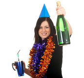 Young woman in chains and cone hat with champagne Stock Photography