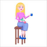Young Woman on Chair with Dietary Food Flat Vector Stock Images