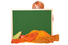 Young woman with chalkboard Stock Photography