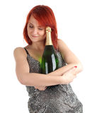 Young woman with champagne Stock Images