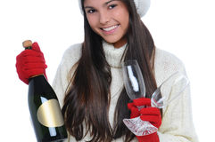 Young Woman with Champagne Bottle and Glasses Stock Image