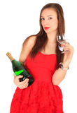 Young woman with champagne and wineglasses Stock Photo