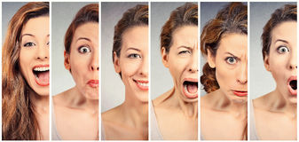 Young woman changing mood emotions. Collage of a woman changing mood royalty free stock image