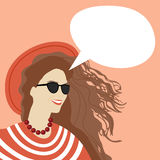 Young Woman Chat Bubble Copy Space Pop Art Style Vintage Retro Colorful Banner Stock Image