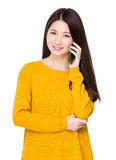 Young woman chat on mobile phone Stock Images