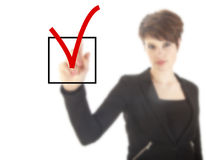 Young woman with checkbox isolated Royalty Free Stock Image