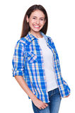 Young woman in checked shirt Royalty Free Stock Image