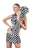 Young woman in checkered suit over white Royalty Free Stock Images