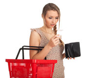 Young woman checking purchases list Stock Images