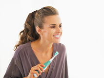 Young woman checking teeth after brushing Stock Photos