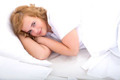Young woman cheerful in Bed Royalty Free Stock Image
