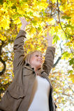 Young woman cheering. Beautiful young blond woman cheering stock photography