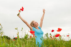 Young woman cheering Royalty Free Stock Photo
