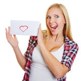 Young woman cheering with love letter Royalty Free Stock Photo