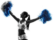 Young woman cheerleader cheerleading  silhouette Stock Photo
