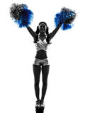 Young woman cheerleader cheerleading  silhouette Stock Photography