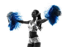 Young woman cheerleader cheerleading  silhouette Stock Photo