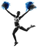 Young woman cheerleader cheerleading  silhouette Stock Image