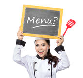 Young  woman Chef with blackboard menu Stock Photos