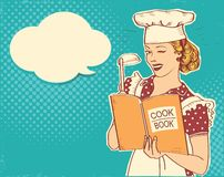 Young woman chef holding cook book in her hand on kitchen room.Reto color style illustration. Retro Young woman chef holding cook book in her hand on kitchen stock illustration