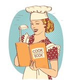 Young woman chef holding cook book in her hand on kitchen room.Reto style illustration. Retro Young woman chef holding cook book in her hand on kitchen room. Pin royalty free illustration