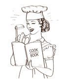 Young woman chef holding cook book in her hands on kitchen room.Reto style illustration. Isolated on white vector illustration