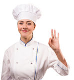 Young woman chef isolated on white Royalty Free Stock Photography