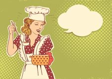 Young woman chef with retro clothes cooking soup. Retro color style illustration background. With speech bubble for text stock illustration