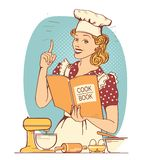 Young woman chef in retro style clothes cooking and holding cook book in her hand. In the kitchen room vector illustration