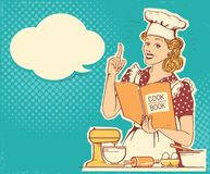 Young woman chef in retro style clothes cooking and holding cook book in the kitchen room. Vector vintage background. Young woman chef in retro style clothes stock illustration