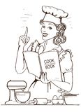 Young woman chef in retro style cooking and holding cook book in her hand in the kitchen room. On white background vector illustration