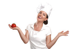 Young woman chef showing ingredients for italian food Stock Photos