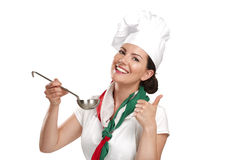 Young woman chef showing ingredients for italian food Royalty Free Stock Photos