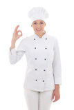 Young woman chef  showing ok sign isolated on white Royalty Free Stock Image