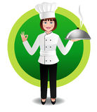 Young woman chef with steaming cuisine Stock Photography
