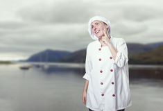 Young woman chef is thinking about somthing Royalty Free Stock Photos