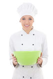 Young woman in chef uniform with green plastic bowl isolated on Stock Images